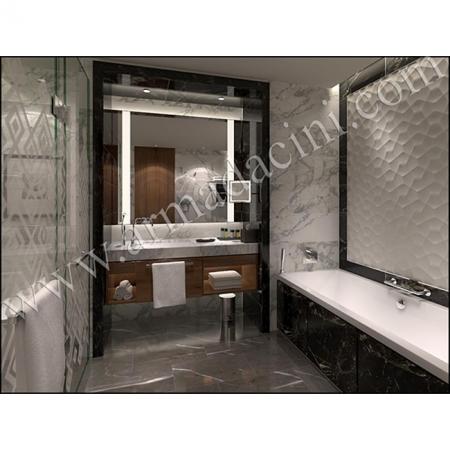 Özel Otel Banyo Tasarımı Seramik Özel 3D Kütahya Çini Örneği Kütahya ve iznik çinileri türk hamamı çini pano seramik dekorasyon hand made interior tile