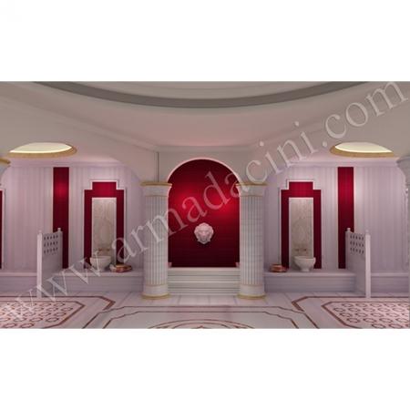 Türk Hamamı Tasarımı SP-103 Çini Karo Kırmızı İznik Çini Örneği Kütahya ve iznik çinileri türk hamamı çini pano seramik dekorasyon hand made interior tile