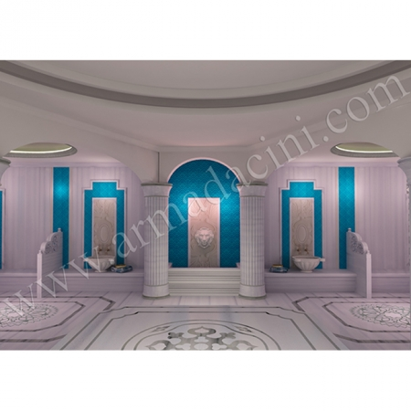 Türk Hamam Tasarımı 3D Rölyefli Karo Modeli Kütahya Çini Örneği Kütahya ve iznik çinileri türk hamamı çini pano seramik dekorasyon hand made interior tile