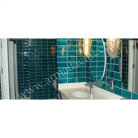 Banyo Tasarımı Kütahya Çini Duvar Dekorasyonu Kütahya Çini Örneği Kütahya ve iznik çinileri türk hamamı çini pano seramik dekorasyon hand made interior tile