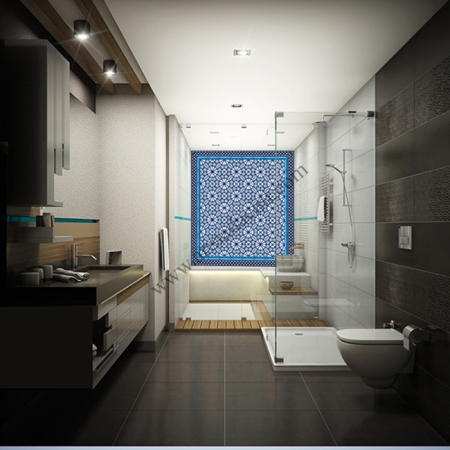 Vılla Ozel Banyo Dekorasyon Duvar Kaplaması AC-3-A Cını Karo Kütahya ve iznik çinileri türk hamamı çini pano seramik dekorasyon hand made interior tile
