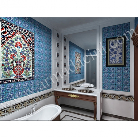 Vılla Banyo Tasarımı El isi Kütahya Cını Dekorasyonu Kütahya ve iznik çinileri türk hamamı çini pano seramik dekorasyon hand made interior tile