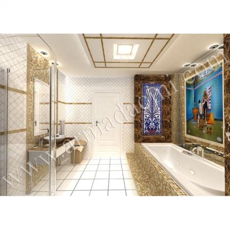 Saray Banyo Dekorasyonu El Dekoru Iznık Cını Calısması Kütahya ve iznik çinileri türk hamamı çini pano seramik dekorasyon hand made interior tile