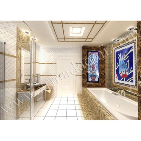 Saray Banyo Dekorasyonu El Dekoru İznik Çini Çalışması Kütahya ve iznik çinileri türk hamamı çini pano seramik dekorasyon hand made interior tile