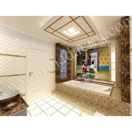 Banyo Dekorasyonu El Dekoru Çini Çalışması Kütahya ve iznik çinileri türk hamamı çini pano seramik dekorasyon hand made interior tile