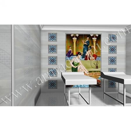 Otel Spa Masaj Odası El Dekoru Hamam Sefası Kütahya ve iznik çinileri türk hamamı çini pano seramik dekorasyon hand made interior tile