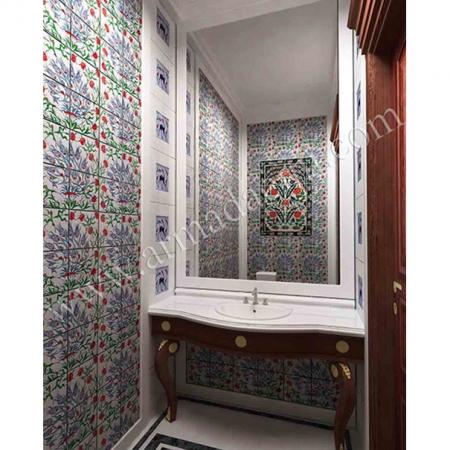 Villa Banyo Tasarımı El isi Cini Dekorasyonu Kütahya ve iznik çinileri türk hamamı çini pano seramik dekorasyon hand made interior tile
