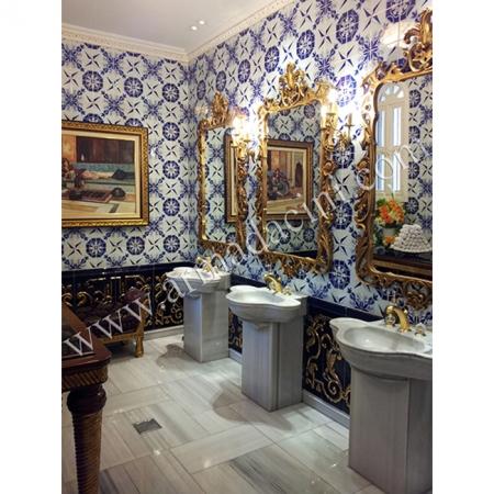 Özel Tasarım Lavabo-1 İznik Çini Dekorasyon Çalışması Kütahya ve iznik çinileri türk hamamı çini pano seramik dekorasyon hand made interior tile
