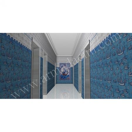 Özel Tasarım Spa Girişi Kalyon İznik Çini Kütahya ve iznik çinileri osmanlı motifleri türk hamamı çini pano seramik dekorasyon hand made interior tile