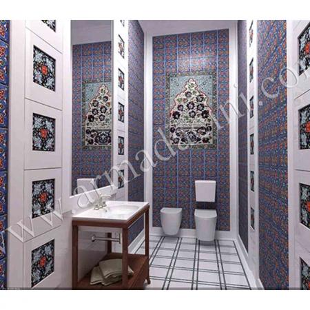 Villa Özel Tasarım Lavobo-2 Kütahya Çini Dekorasyon Kütahya ve iznik çinileri türk hamamı çini pano seramik dekorasyon hand made interior tile