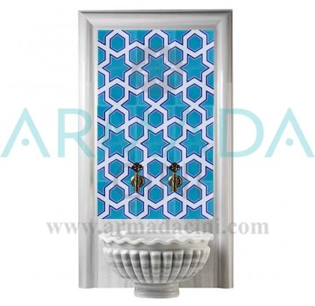 SP 98 Mavi Beyaz Geometrik Yıldız Çinili Hamam Panosu