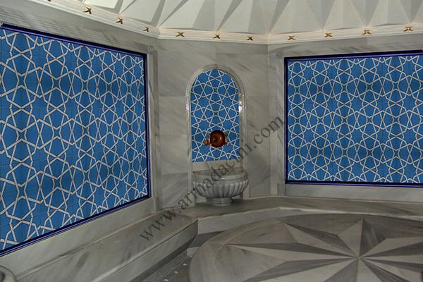 20x20 SP-94 Mavi Yıldız Çini Serigraf Türk Hamamı