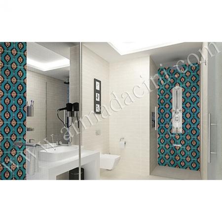 Yurt Banyo Tasarımı SP-43-B Çini Karo Mavi Hanedan Kütahya ve iznik çinileri türk hamamı çini pano seramik dekorasyon hand made interior tile