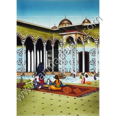 100x140 Osmanlı Sarayı Avludaki Kızlar Cini Pano Kütahya ve iznik çinileri el yapımı çini karo klasik türk çini sanatı desenleri osmanlı motifleri türk hamamı çini pano banyo mutfak tezgah arası çiniler seramik dekorasyon hand made interior ceramic tiles decoration turkısh bath bathroom çini örnekleri saray cariye