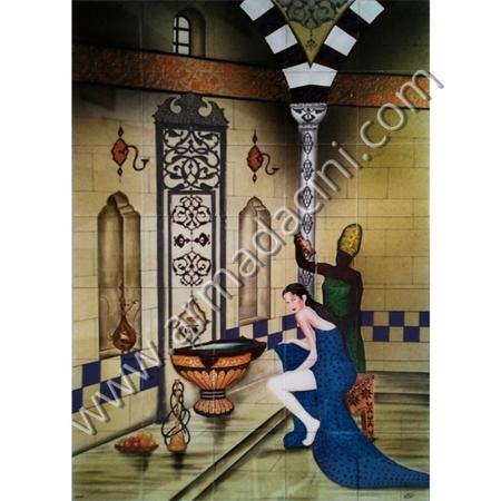 100x140 Osmanlı Sultan Hamamı El Dekoru Cini Pano Kütahya ve iznik çinileri el yapımı çini karo klasik türk çini sanatı desenleri osmanlı motifleri türk hamamı çini pano banyo mutfak tezgah arası çiniler seramik dekorasyon hand made interior ceramic tiles decoration turkısh bath bathroom çini örnekleri saray cariye