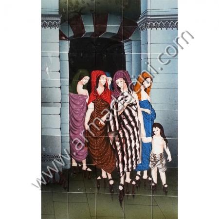 100x160 Osmanlı Gelin Hamam Cıkısı El Yapımı Cini Pano Kütahya ve iznik çinileri el yapımı çini karo klasik türk çini sanatı desenleri osmanlı motifleri türk hamamı çini pano banyo mutfak tezgah arası çiniler seramik dekorasyon hand made interior ceramic tiles decoration turkısh bath bathroom çini örnekleri saray