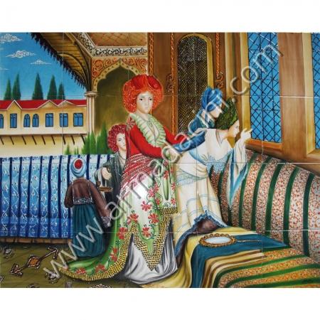 100x80 Osmanlı Hurrem Sultan El Dekoru Cini Pano Kütahya ve iznik çinileri el yapımı çini karo klasik türk çini sanatı desenleri osmanlı motifleri türk hamamı çini pano banyo mutfak tezgah arası çiniler seramik dekorasyon hand made interior ceramic tiles decoration turkısh bath bathroom çini örnekleri saray cariye