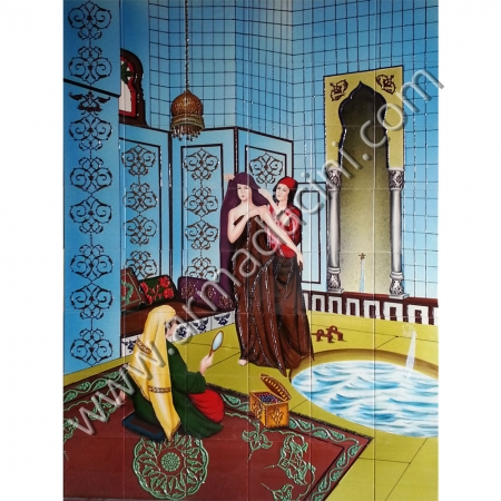 120x160 Osmanlı Cariyeler Hamam Cıkısı El Yapımı Ciniler Kütahya ve iznik çinileri el yapımı çini karo klasik türk çini sanatı desenleri osmanlı motifleri türk hamamı çini pano banyo mutfak tezgah arası çiniler seramik dekorasyon hand made interior ceramic tiles decoration turkısh bath bathroom çini örnekleri saray