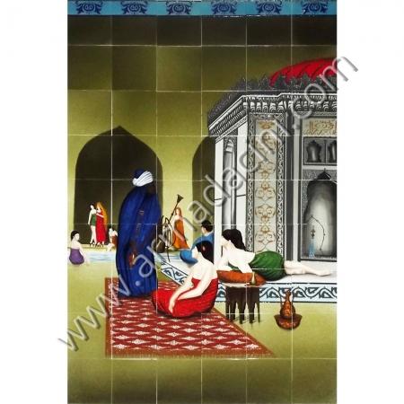 120x180 Osmanlı Turk Hamamı Nargileci Arap Kadın Cini Kütahya ve iznik çinileri el yapımı çini karo klasik türk çini sanatı desenleri osmanlı motifleri türk hamamı çini pano banyo mutfak tezgah arası çiniler seramik dekorasyon hand made interior ceramic tiles decoration turkısh bath bathroom çini örnekleri saray cariye