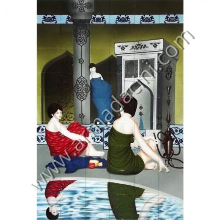 120x180 Türk Hamamı 2 Cariye Sohbeti Cini Pano Kütahya ve iznik çinileri el yapımı çini karo klasik türk çini sanatı desenleri osmanlı motifleri türk hamamı çini pano banyo mutfak tezgah arası çiniler seramik dekorasyon hand made interior ceramic tiles decoration turkısh bath bathroom çini örnekleri saray cariye