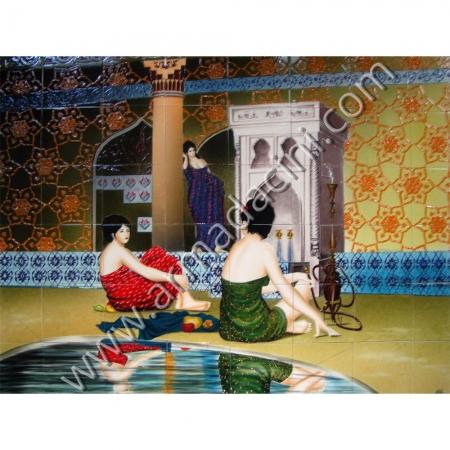 160x120 Hamam Havuz Bası 2 Cariye Cini Pano Kütahya ve iznik çinileri el yapımı çini karo klasik türk çini sanatı desenleri osmanlı motifleri türk hamamı çini pano banyo mutfak tezgah arası çiniler seramik dekorasyon hand made interior ceramic tiles decoration turkısh bath bathroom çini örnekleri saray cariye
