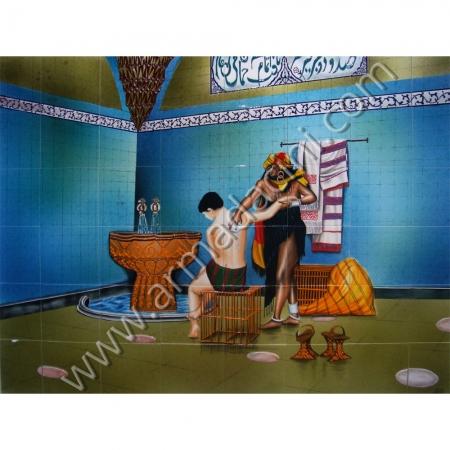 160x120 Hamamda Kese Yapan Kadın Cini Pano Kütahya ve iznik çinileri el yapımı çini karo klasik türk çini sanatı desenleri osmanlı motifleri türk hamamı çini pano banyo mutfak tezgah arası çiniler seramik dekorasyon hand made interior ceramic tiles decoration turkısh bath bathroom çini örnekleri saray cariye