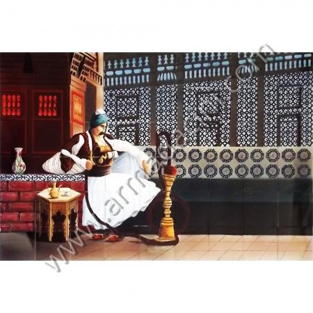 180x120 Osmanlı Nargileci Bali Bey Cini Pano Kütahya ve iznik çinileri el yapımı çini karo klasik türk çini sanatı desenleri osmanlı motifleri türk hamamı çini pano banyo mutfak tezgah arası çiniler seramik dekorasyon hand made interior ceramic tiles decoration turkısh bath bathroom çini örnekleri saray cariye