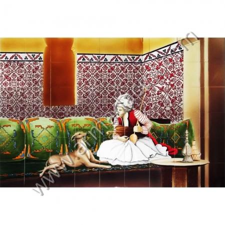 180x120 Osmanlı Nargileci Bektasi Cini Pano Kütahya ve iznik çinileri el yapımı çini karo klasik türk çini sanatı desenleri osmanlı motifleri türk hamamı çini pano banyo mutfak tezgah arası çiniler seramik dekorasyon hand made interior ceramic tiles decoration turkısh bath bathroom çini örnekleri saray cariye