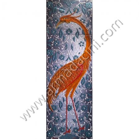 40x120 Turna Kusu Ozel El Dekoru Cini Pano Kütahya ve iznik çinileri el yapımı çini karo klasik türk çini sanatı desenleri osmanlı motifleri türk hamamı çini pano banyo mutfak çiniler seramik dekorasyon hand made interior ceramic tiles decoration turkısh bath bathroom çini fiyatları satıcıları fabrikalar