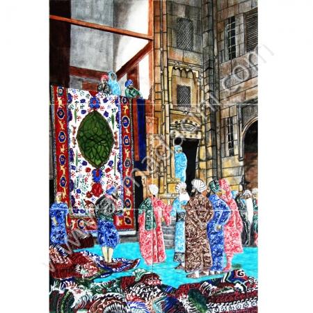 40x60 Halı Tuccarı El Dekoru Cini Tablo Kütahya ve iznik çinileri el yapımı çini karo klasik türk çini sanatı desenleri osmanlı motifleri türk hamamı çini pano banyo mutfak çiniler seramik dekorasyon hand made interior ceramic tiles decoration turkısh bath bathroom çini fiyatları satıcıları fabrikalar