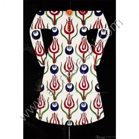 40x60 Osmanlı Kaftanları Beyaz Zeminli Laleli Kaftan Kütahya ve iznik çinileri el yapımı çini karo klasik türk çini sanatı desenleri osmanlı motifleri türk hamamı çini pano banyo mutfak çiniler seramik dekorasyon hand made interior ceramic tiles decoration turkısh bath bathroom çini fiyatları satıcıları fabrikalar