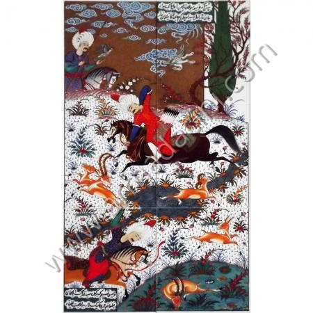 60x100 Sultan Suleyman Av Sahnesi El Yapımı Cini Panolar Kütahya ve iznik çinileri el yapımı çini karo klasik türk çini sanatı desenleri osmanlı motifleri türk hamamı çini pano banyo mutfak çiniler seramik dekorasyon hand made interior ceramic tiles decoration turkısh bath bathroom çini fiyatları satıcıları fabrikalar