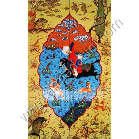 60x100 Osmanlı Av Sahnesi Damla Minyatur Cini Pano Kütahya ve iznik çinileri el yapımı çini karo klasik türk çini sanatı desenleri osmanlı motifleri türk hamamı çini pano banyo mutfak tezgah arası çiniler seramik dekorasyon hand made interior ceramic tiles decoration turkısh bath bathroom çini örnekleri saray cariye