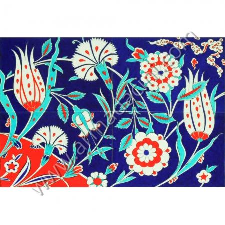 60x40 iznik Lalezar Ciçek Bahcesi El Dekoru Cini Pano Kütahya ve iznik çinileri el yapımı çini karo klasik türk çini sanatı desenleri osmanlı motifleri türk hamamı çini pano banyo mutfak çiniler seramik dekorasyon hand made interior ceramic tiles decoration turkısh bath bathroom çini fiyatları satıcıları fabrikalar