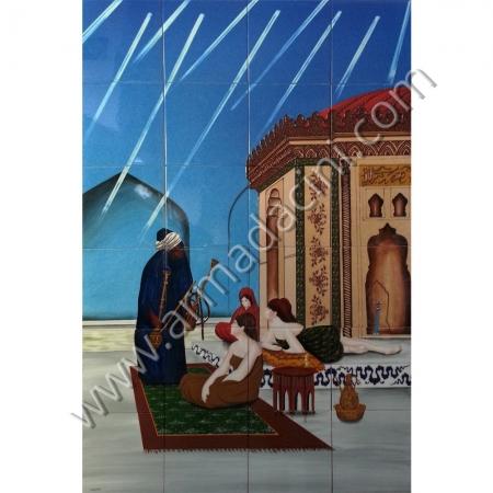 80x120 Osmanlı Sarayı Hamamda Nargileci Cariyeler Kütahya ve iznik çinileri el yapımı çini karo klasik türk çini sanatı desenleri osmanlı motifleri türk hamamı çini pano banyo mutfak tezgah arası çiniler seramik dekorasyon hand made interior ceramic tiles decoration turkısh bath bathroom çini örnekleri saray cariye