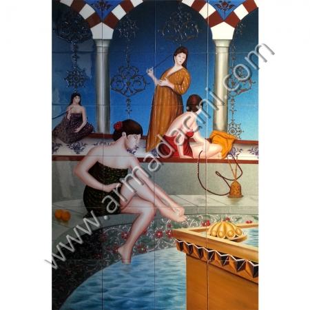 80x120 Havuz Basında Oturan Kadın El dekoru Cini Pano Kütahya ve iznik çinileri el yapımı çini karo klasik türk çini sanatı desenleri osmanlı motifleri türk hamamı çini pano banyo mutfak tezgah arası çiniler seramik dekorasyon hand made interior ceramic tiles decoration turkısh bath bathroom çini örnekleri saray cariye