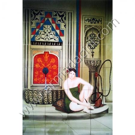 80x120 Turk Hamamı Nargile Icen Kadın Cini Pano Kütahya ve iznik çinileri el yapımı çini karo klasik türk çini sanatı desenleri osmanlı motifleri türk hamamı çini pano banyo mutfak tezgah arası çiniler seramik dekorasyon hand made interior ceramic tiles decoration turkısh bath bathroom çini örnekleri saray cariye