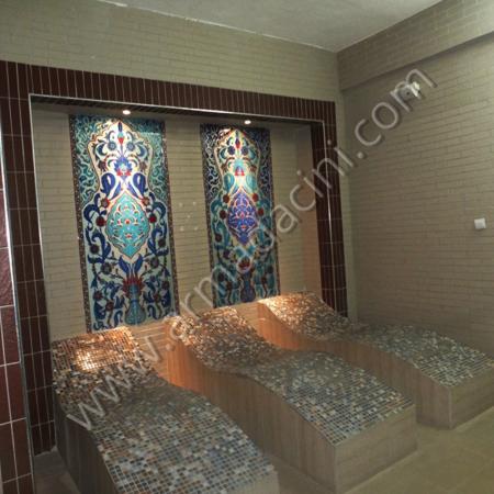 Spa Salonu El Dekoru Çini Dekorasyon Örneği Kütahya ve iznik çinileri el yapımı çini karo çini pano çiniler seramik dekorasyon hand made interior tiles