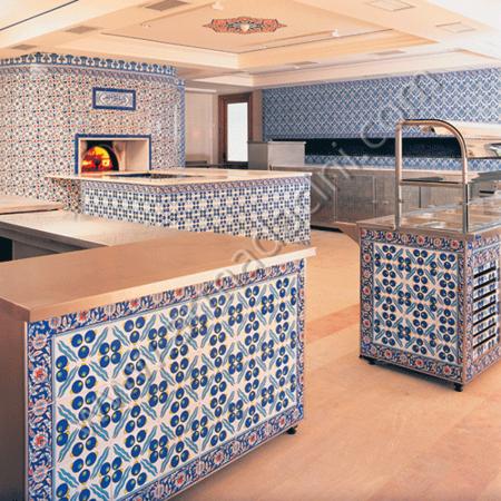 Otel Restoran Duvar Çini Kaplama Modeli Örneği Kütahya ve iznik çinileri el yapımı çini karo çini pano çiniler seramik dekorasyon hand made interior tiles