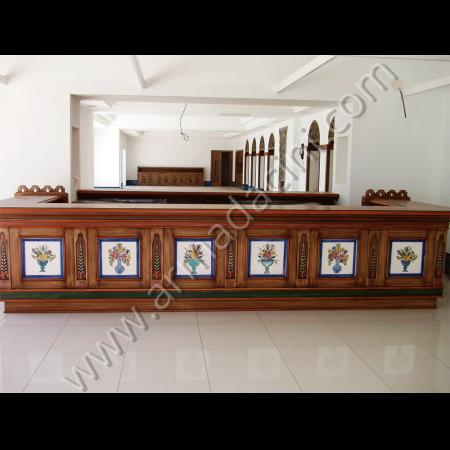 Otel Resepsiyon Duvar Dekorasyon Örneği Kütahya ve iznik çinileri el yapımı çini karo çini pano çiniler seramik dekorasyon hand made interior tiles