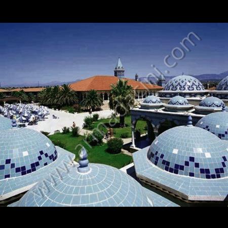 Cami Otel Kubbe Çini Seramik Kaplama Örneği Kütahya ve iznik çinileri el yapımı çini karo çini pano çiniler seramik dekorasyon hand made interior tiles