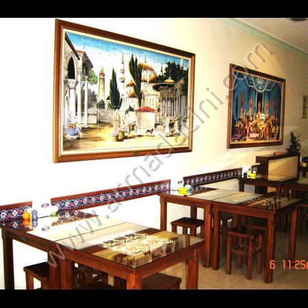 Duvar Çini Seramik Dekorasyon Dizayn Örneği Kütahya ve iznik çinileri el yapımı çini karo çini pano çiniler seramik dekorasyon hand made interior tiles