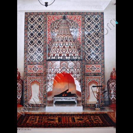 Eldekoru Cini Somine Otel Dekorasyonu Çalışması Kütahya ve iznik çinileri osmanlı motifleri türk hamamı çini pano seramik dekorasyon hand made interior tile