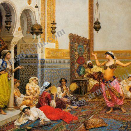 Osmanlı Harem Cariyeler Rakkase Dijital Baskı Çini Pano