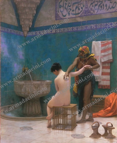 Osmanlı Cariyeleri Kese Yapan Kadın Hamam Sahnesi