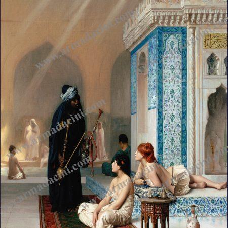 Osmanlı Harem Cariyeler Nargileci Desenli Türk Hamamı