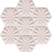 Beyaz Ciçekli Altıgen Seramik Cini, Kutahya çinisi, Cami çinileri, Türk hamamı, mosque, Banyo otel dekorasyon, fiyatları hexagon tile decoration örnekleri