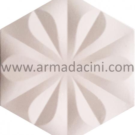 15x17 Beyaz Çiçekli Altıgen Seramik Çini Karo