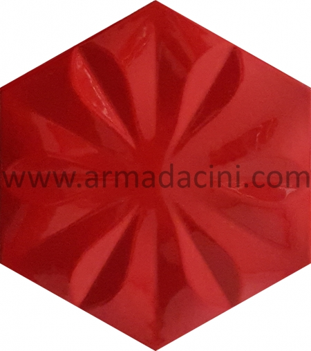 Kırmızı Ciçekli Altıgen Seramik Cini