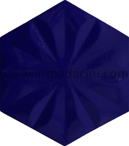 Kobalt Çiçekli Altıgen Seramik Cini
